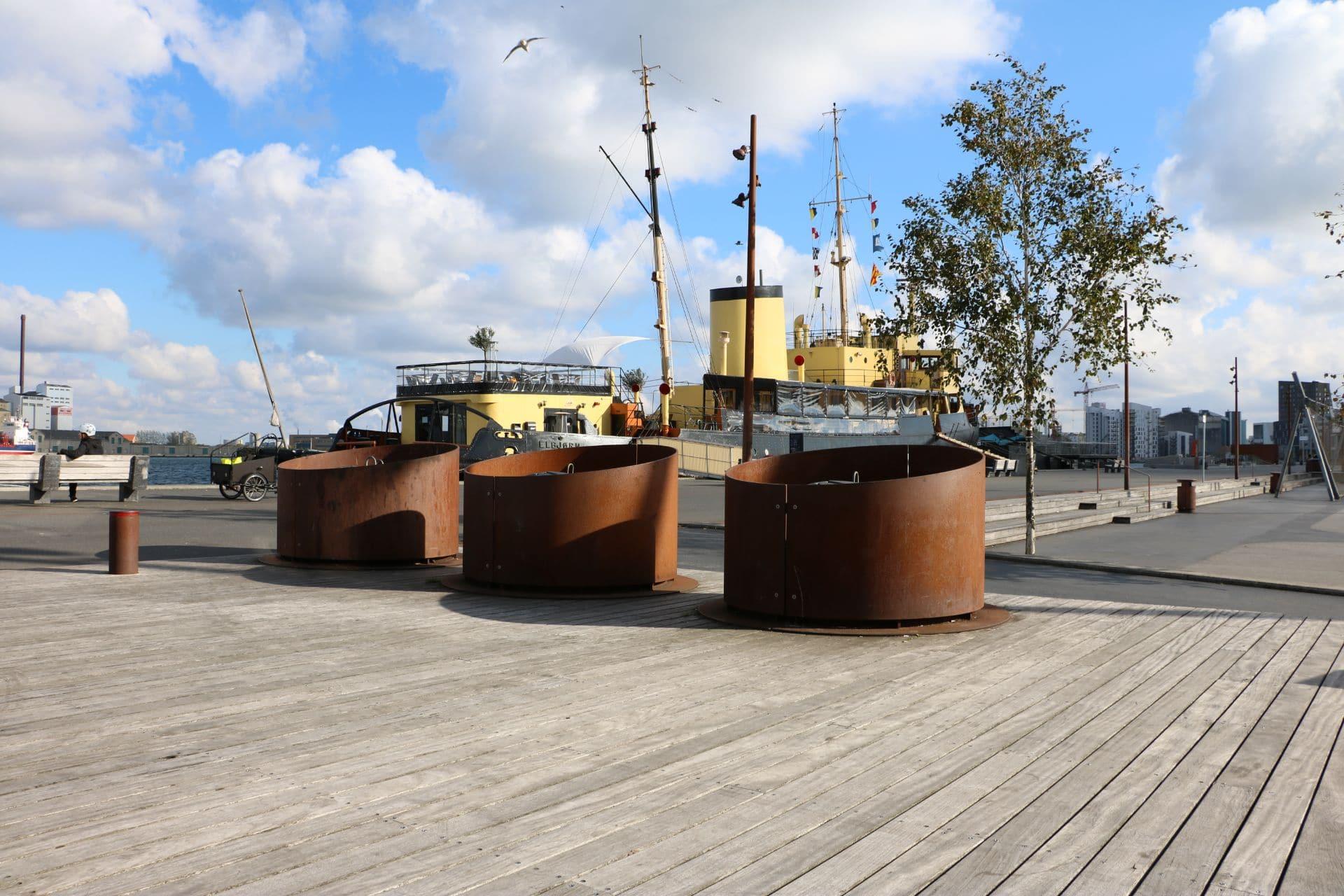 Specialløsning med Molok®Classic beklædt med corten stål, Aalborg Havn